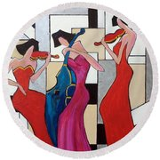 Lady Musicians Round Beach Towel