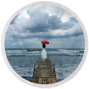 Lady On Dock In Storm Round Beach Towel