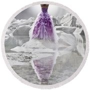 Lady On The Rocks Round Beach Towel by Joana Kruse