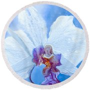 Lady Orchid The Sky Beckons Round Beach Towel