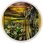 Lady Stained Glass Window Round Beach Towel by Thomas Woolworth