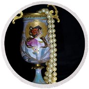 Lady Vase And Pearls Round Beach Towel