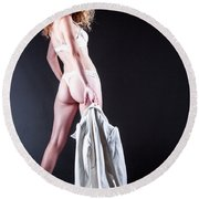 Lady With A Coat Round Beach Towel