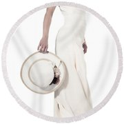 Lady With A Hat Round Beach Towel