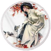 Lady With Dog Round Beach Towel