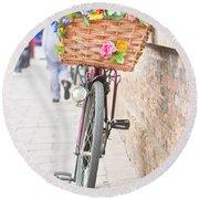 Lady's Bike Round Beach Towel