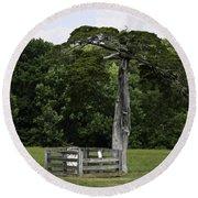 Lafayette Meeks Cemetery Appomattox Virginia Round Beach Towel by Teresa Mucha