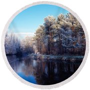 Lagan Meadows During Winter, Belfast Round Beach Towel