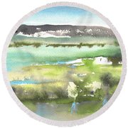 Lagoon In Spain Round Beach Towel