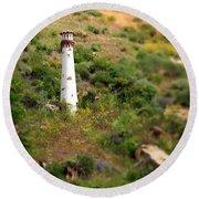 Laguna Beach Light Tower Round Beach Towel