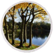 Lake And Trees, Mount Stewart, Co Down Round Beach Towel