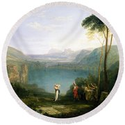 Lake Avernus - Aeneas And The Cumaean Sibyl Round Beach Towel