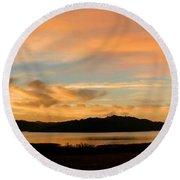 Lake Casitas Sunrise Round Beach Towel