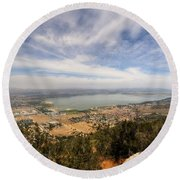Lake Elsinore 1 Round Beach Towel