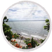 Lake Erie Beach At Sturgeon Point Round Beach Towel
