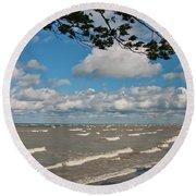 Lake Erie Storm 2371 Round Beach Towel