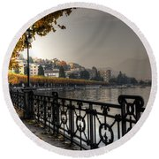Lake Front With Autumn Trees Round Beach Towel