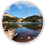 Lake Helen Reflections Round Beach Towel