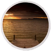 Lake Huron Dock Round Beach Towel