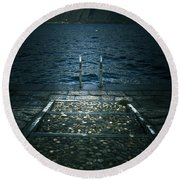 Lake In The Winter Round Beach Towel
