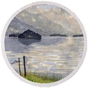 Lake Kilarney Ring Of Kerry Watercolour Painting Round Beach Towel