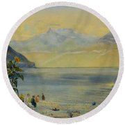 Lake Leman With The Dents Du Midi In The Distance Round Beach Towel by John William Inchbold