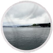 Lake Lucerne And Cruise Ships Berthed In Front Of Kkl Round Beach Towel