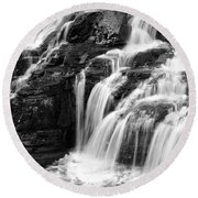 Lake Mcdonald Falls Glacier National Park Round Beach Towel
