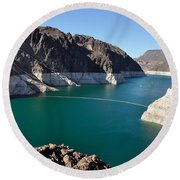 Lake Mead By Hoover Dam Round Beach Towel