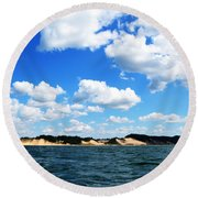 Lake Michigan Shore With Clouds Round Beach Towel by Michelle Calkins