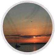 Lake Michigan Sun Rise Round Beach Towel