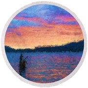Lake Quinault Sunset - Impressionism Round Beach Towel