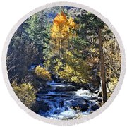 Lake Sabrina Creek Round Beach Towel