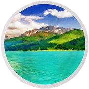 Lake Sils Round Beach Towel
