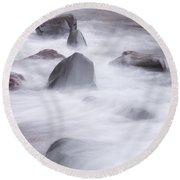 Lake Superior Rocks Waves 1 B Round Beach Towel