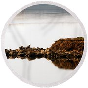 Lake Visitors Round Beach Towel