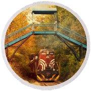 Lake Winnipesaukee New Hampshire Railroad Train In Autumn Foliage Round Beach Towel