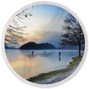 Lake With Ice Round Beach Towel
