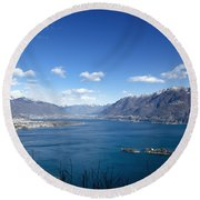 Lake With Islands And Snow-capped Mountain Round Beach Towel
