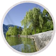 Lakefront With Trees Round Beach Towel