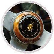 Lamborghini Steering Wheel Emblem Round Beach Towel