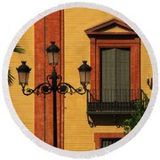 Lamp And Window In Sevilla Spain Round Beach Towel