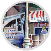 Lamp Post In The Cafe Round Beach Towel by Mindy Newman