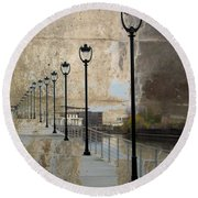 Lamp Posts And Concrete Round Beach Towel