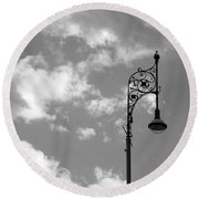 Lampost And Clouds In Wroclaw Poland Round Beach Towel