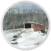 Lancaster County Covered Bridge In The Snow  Round Beach Towel