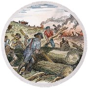 Land Clearing, C1830 Round Beach Towel