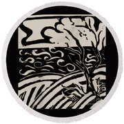 Land Sea Sky In Black And White Round Beach Towel