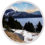 Land With A View Painterly Round Beach Towel