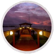 Landing Lights Round Beach Towel